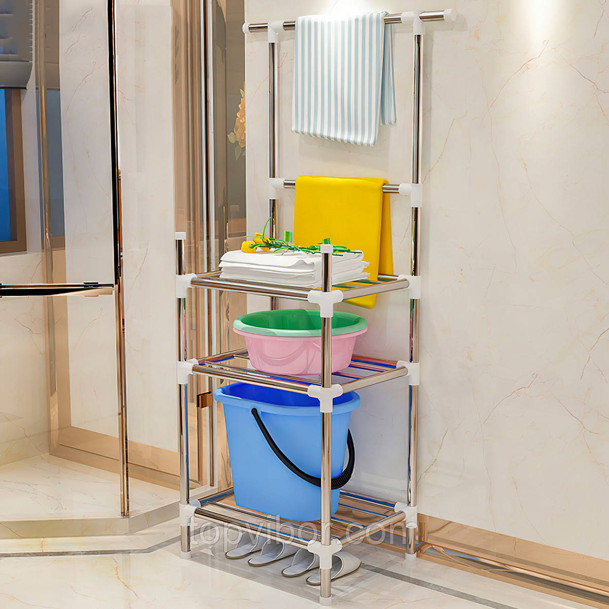 Подставка для обуви на 3 отделения 134*44*36см серебристая, стеллаж для хранения вещей | стелаж для речей (VT)