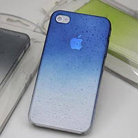 Чехол с каплями синий для Iphone 4/4S