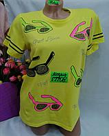 Жіноча трикотажна футболка Окуляри розмір норма 46-50, колір уточнюйте при замовленні, фото 1