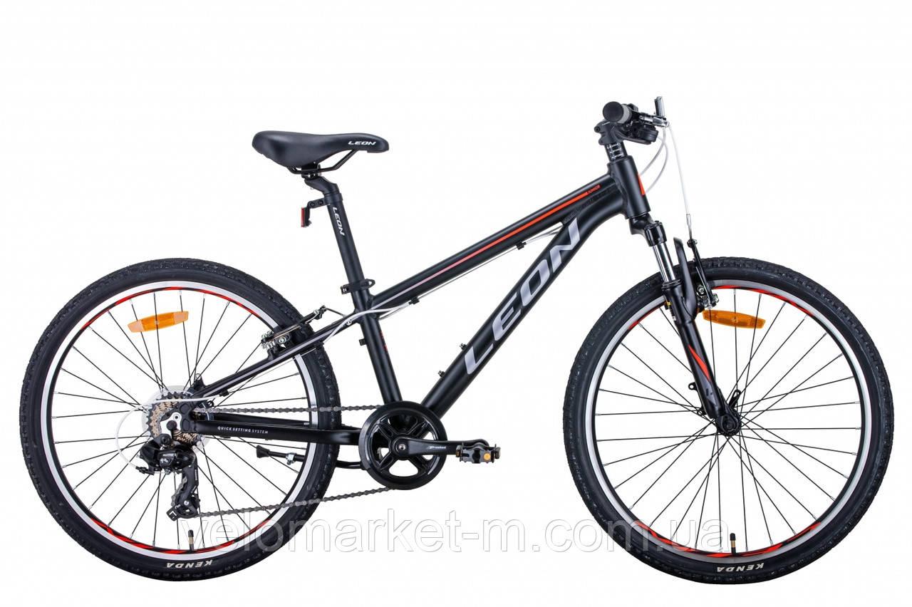"""Велосипед 24"""" Leon JUNIOR AM 2021 черно-оранжевый с серым"""