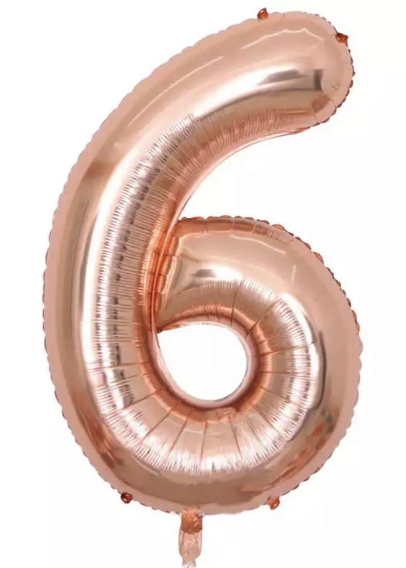 """Фольгована кулька Цифра Слім рожеве золото """"40""""(100см) №6"""