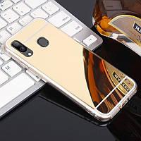 Чехол Fiji Mirror для Samsung Galaxy A10s (A107) силикон зеркальный бампер золотой