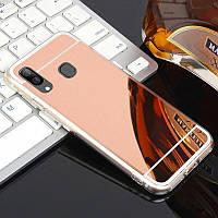 Чехол Fiji Mirror для Samsung Galaxy A10s (A107) силикон зеркальный бампер розовое золото