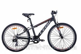 """Велосипед 24"""" Leon JUNIOR 2021 чорно-оранжевий з сірим"""