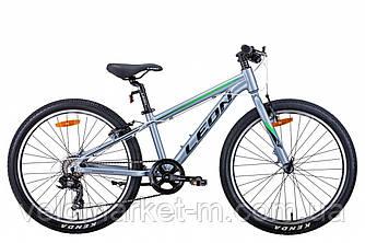 """Велосипед 24"""" Leon JUNIOR 2021 сріблясто-чорний з зеленим"""