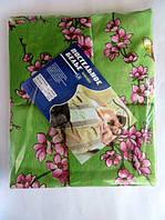 Постельное белье полуторное на салатовом розовые цветочки