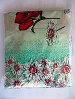 Постельное белье полуторное на бирюзовом цветочки