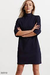 Короткое трикотажное платье темно-синее