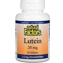 """Лютеїн і зеаксантин Natural Factors """"Lutein"""" для поліпшення зору, 20 мг (30 гельових капсул)"""