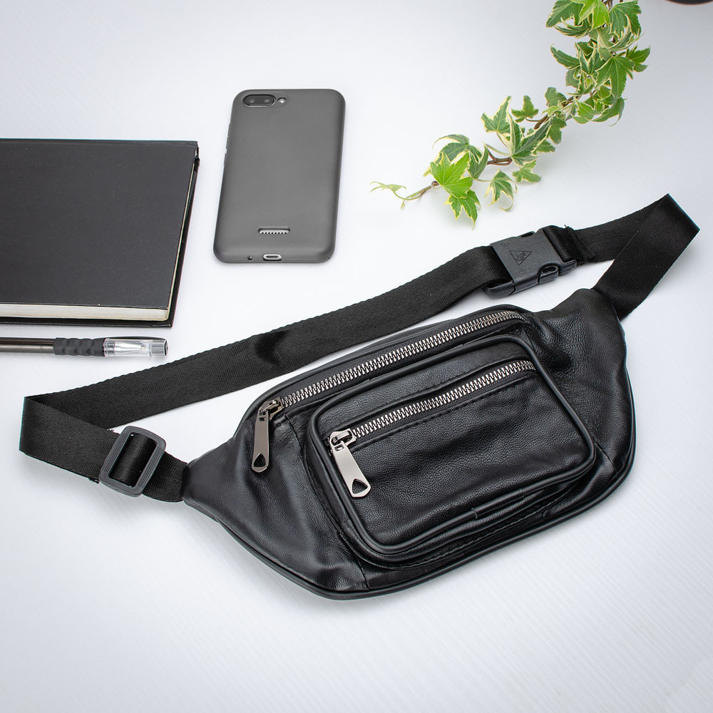 Кожаная сумка бананка на пояс / через плечо LT 5643 черная (fb)