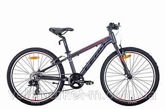"""Велосипед 24"""" Leon JUNIOR 2021 антрацитовий з червоним"""