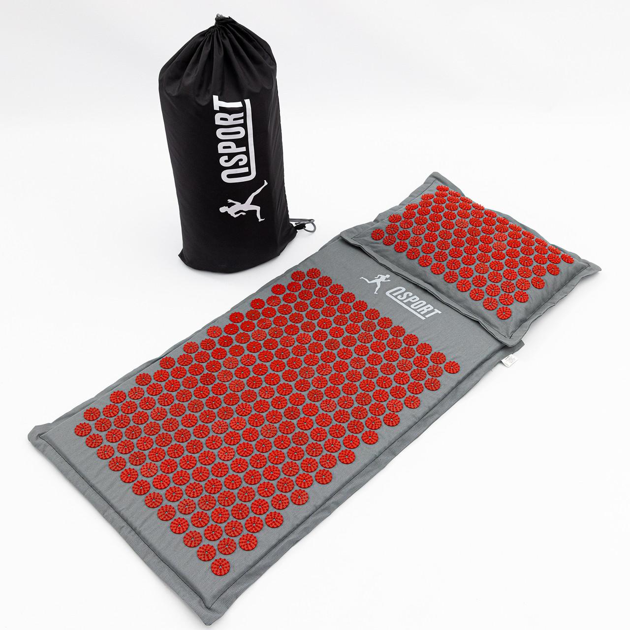 Масажний килимок і подушка (аплікатор Кузнєцова) масажер для спини/голови/ніг/тіла OSPORT Premium (apl-777)