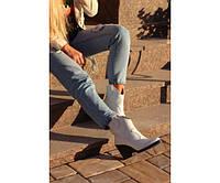 Ботинки казаки белые под питон, фото 1
