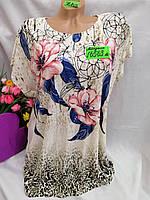 Жіноча трикотажна футболка Квіти розмір 52-54, колір уточнюйте при замовленні, фото 1
