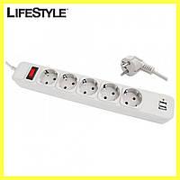 Сетевой фильтр удлинитель на 5 розеток и 2 USB SP5