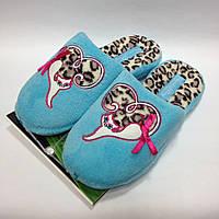 Женские голубые тапочки с кошечкой на леопардовом сердечке, анатомическая подошва, размер 40