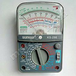 Мультиметр аналоговий SUNWA KS-298 (1000В, 5A, 20МОм, звукова продзвонювання, тест батарей, hFE)