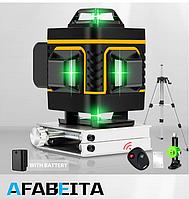 Лазерный уровень AFABEITA 4D 16 линий ПУЛЬТ+ШТАТИВ 1.2 м +Зеленые лучи + ГАРАНТИЯ БЕСПЛАТНАЯ ДОСТАВКА