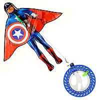 Воздушный змей Капитан Америка с многофункциональной катушкой и шнуром 200 м (Сaptain America)