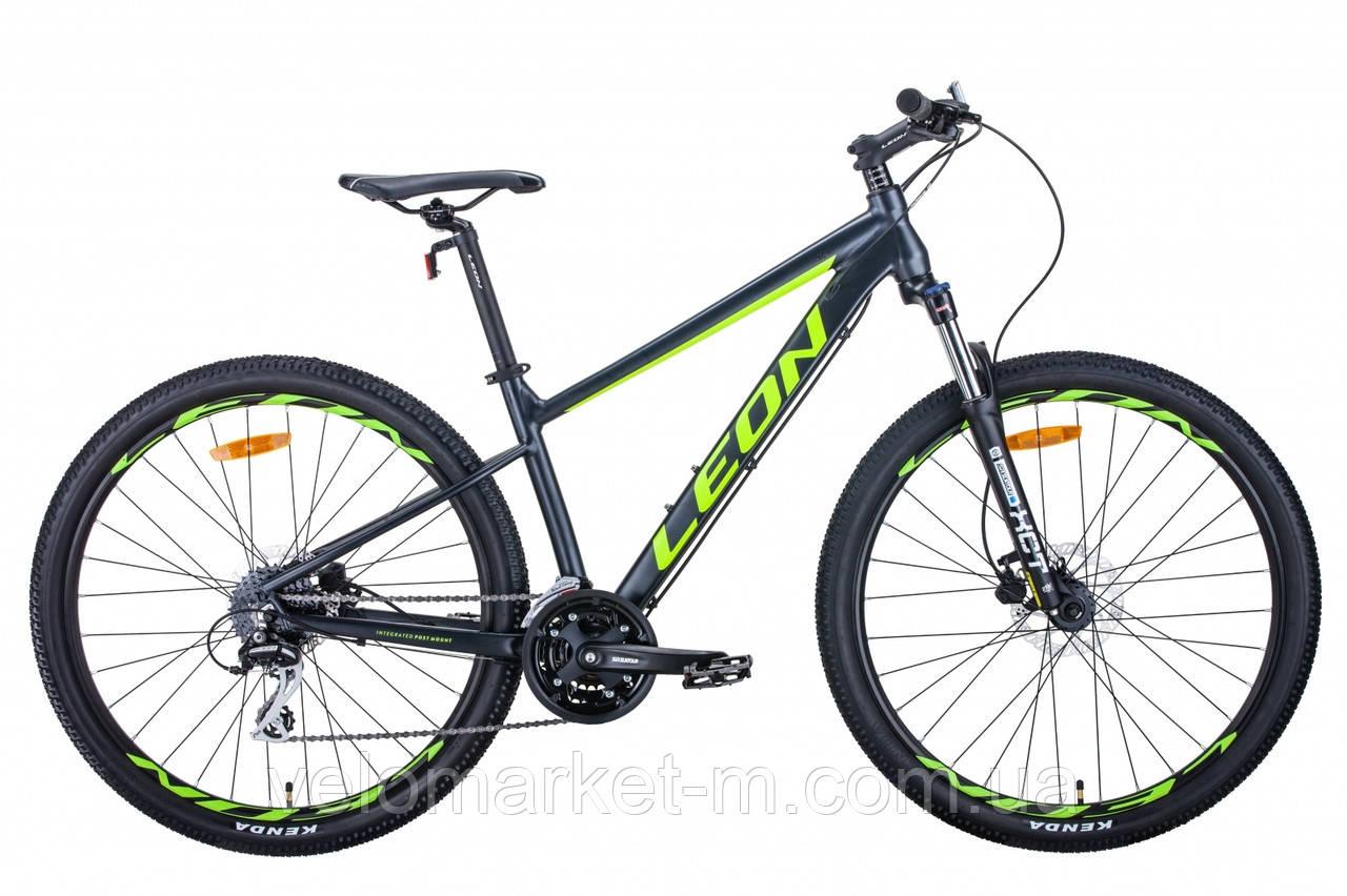 """Велосипед 27.5"""" Leon XC-80 20"""" 2021 антрацитово-желтый с черным"""