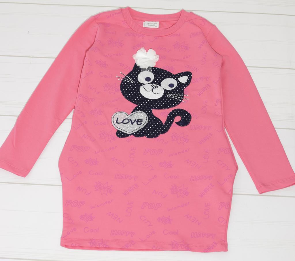 Платья для девочки длинный рукав, (Кошечка с розой), Breeze (размер 128)