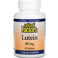 "Лютеин и зеаксантин Natural Factors ""Lutein"" для улучшения зрения, 40 мг (30 гелевых капсул)"