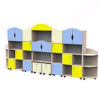 Комплект мебели Пятнашки из 7 модульных стеллажей для хранения игрушек и пособий в детских садах 330х32х155см