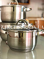 Набор кастрюль из нержавеющей стали German Family GF-2027 Набор кухонной посуды, Кастрюли с крышками