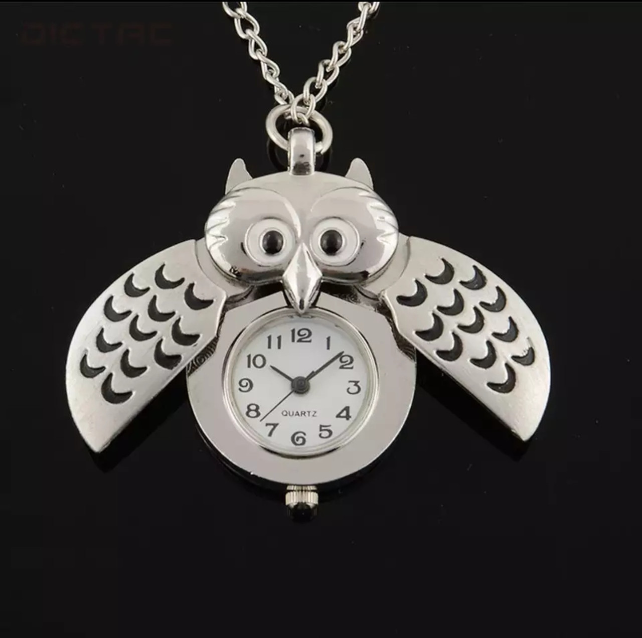 Часы кулон сова цепь 80 см