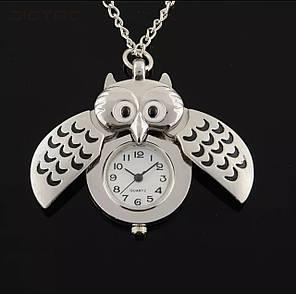 Часы кулон сова цепь 80 см, фото 2