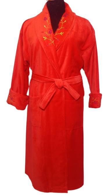 Женский домашний махровый халат с вышивкой, красный, р 50-52 красный Турция