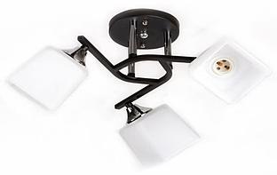 Люстра стельова на три білих плафона з чорним підставою SR-A3064/3 CR+BK