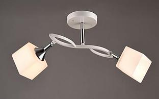Люстра стельова біла на два плафони з поворотними механізмами SR-N3498/2 WT+CH