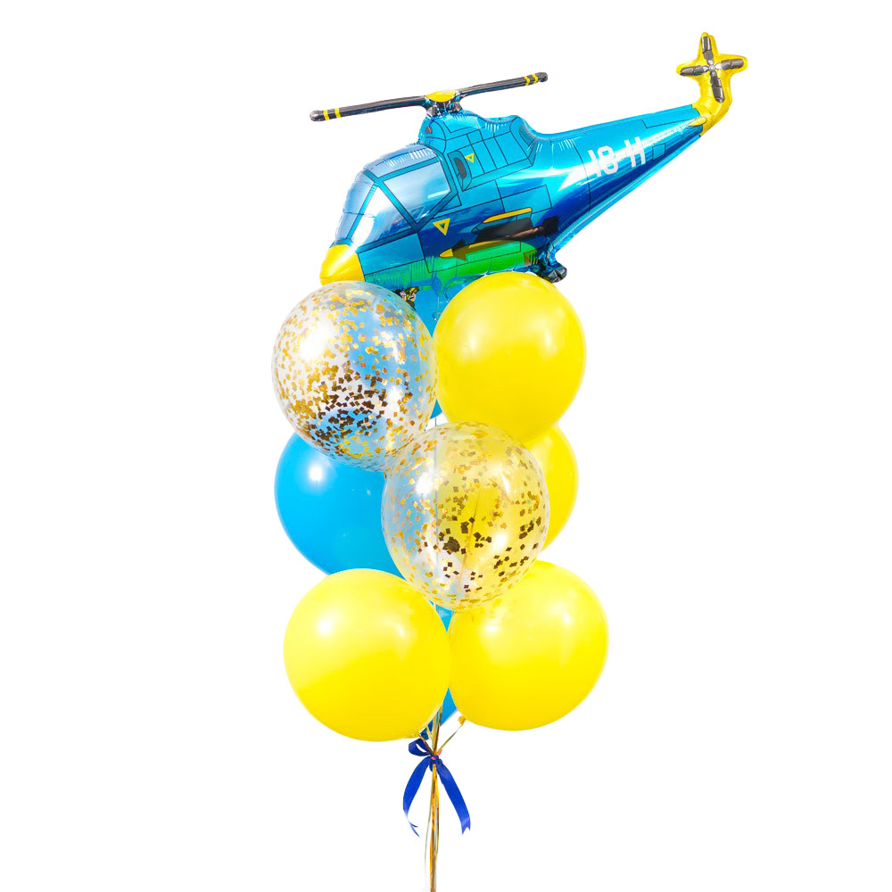 Связка воздушных шаров с синим вертолетом