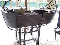 Кованый мангал с крышей и казаном