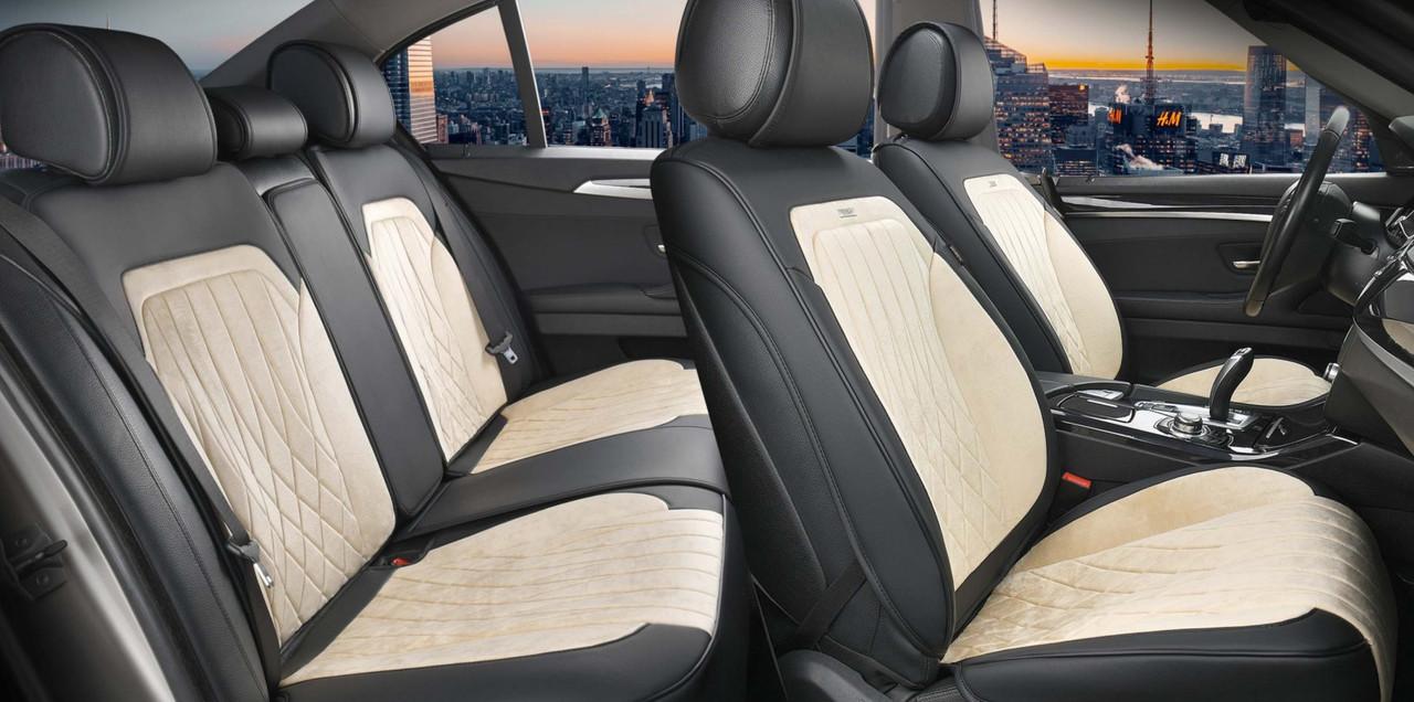 Чехлы 3D с алькантары Elegant Modena на передние и задние сидения автомобиля EL 700 134 бежевые