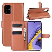 Чехол-книжка Litchie Wallet для Samsung Galaxy A51 A515 Brown