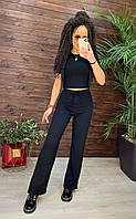 Костюм женский брюки клеш и футболки в рубчик черный мокко