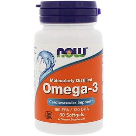 NOW Foods, Omega-3, 180 EPA / 120 DHA - Базовый натуральный комплекс, 30 капсул