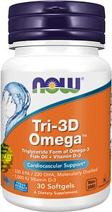 NOW Foods, Tri-3D Omega, 330 EPA/220 DHA - Триглицеридна форма Омега-3 + Витамин D3, 30 капсул