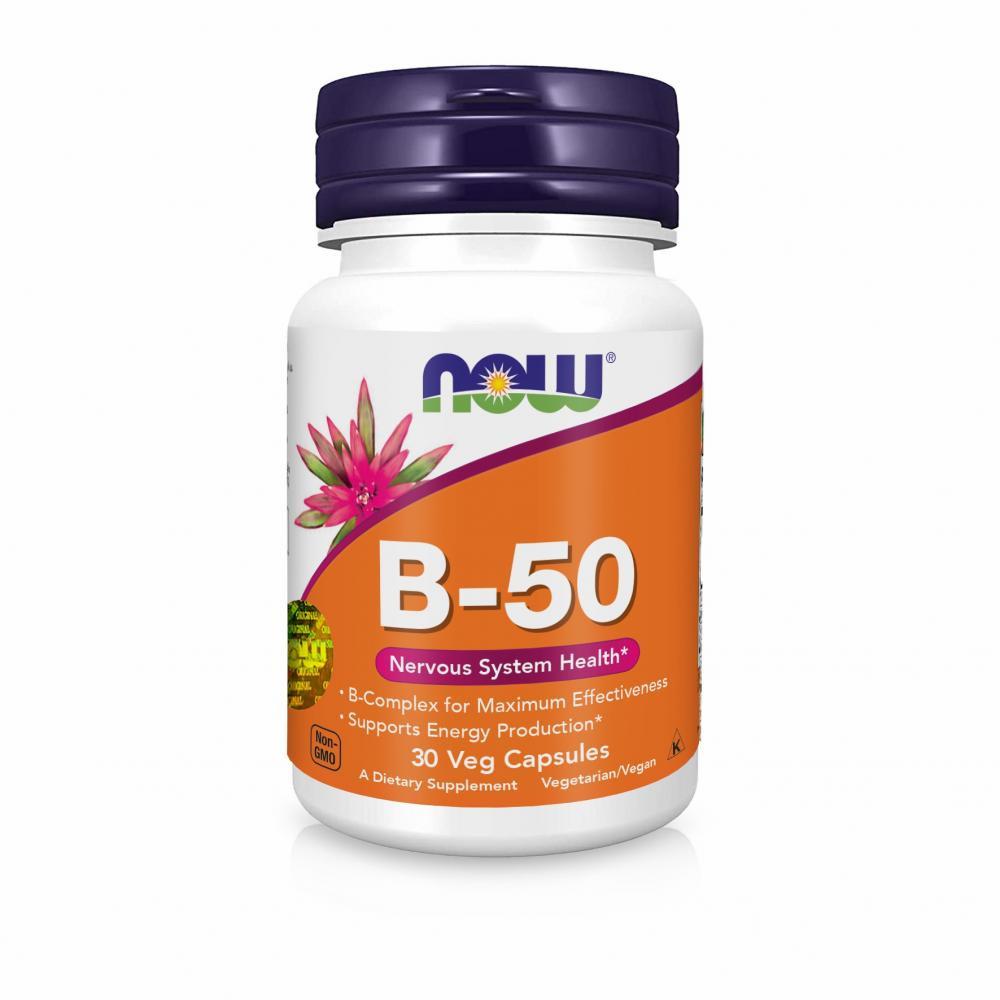 NOW Foods, B-50 - Здоров'я нервової системи, 30 капсул вегетаріанських