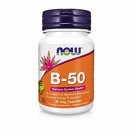 NOW Foods, B-50 - Здоровье нервной системы, 30 вегетарианских капсул