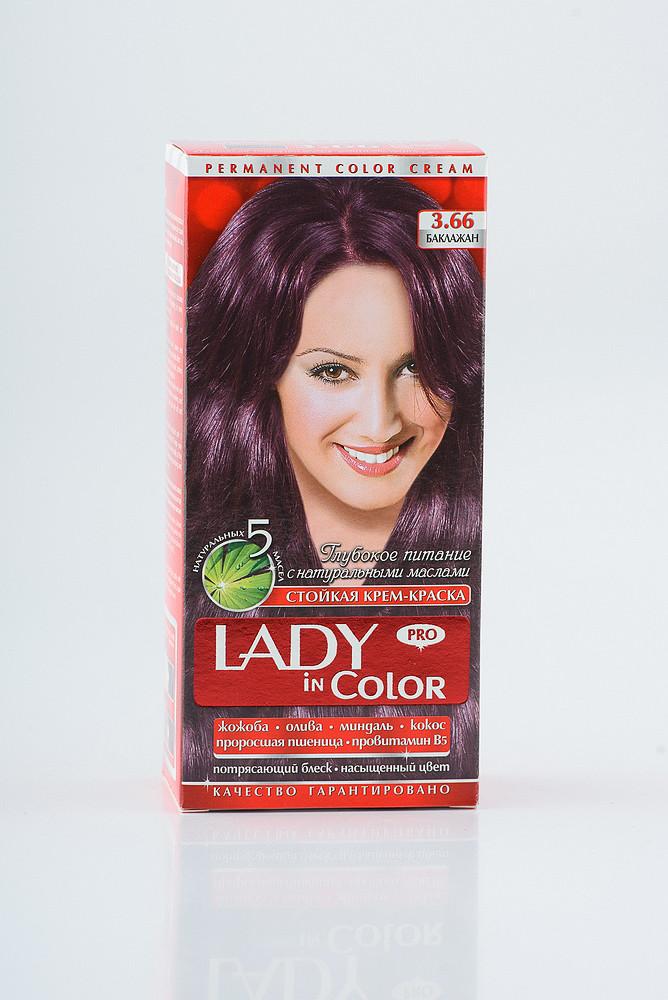 Lady in color фарба для волосся №3.66 Баклажан