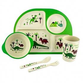 """Набір дитячого посуду з бамбука """"Динозавр"""" арт. 870-24390"""