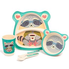 """Набір дитячого посуду з бамбука """"Єнот"""" арт. 870-24386"""