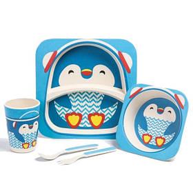 """Набір дитячого посуду з бамбука """"Пінгвін"""" арт. 870-24374"""