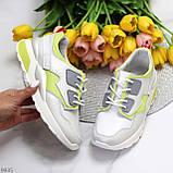 Кросівки жіночі білі з зеленим/ сірим натуральна шкіра весна-осінь, фото 2