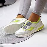 Кросівки жіночі білі з зеленим/ сірим натуральна шкіра весна-осінь, фото 5