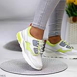 Кросівки жіночі білі з зеленим/ сірим натуральна шкіра весна-осінь, фото 6