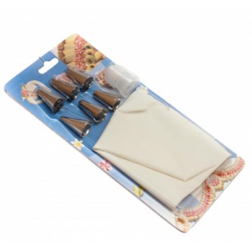 Кондитерский мешок (с насадками, силикон, нержавеющая сталь, 24х12 см), арт. D 301